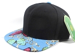 Wholesale Blank Floral Snapbacks Hat - Butterfly - Black | Sky Blue