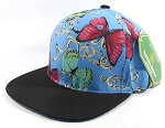Wholesale Blank Floral Snapbacks Hats - Butterfly - Sky Blue | Black