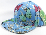 Wholesale Plain Floral Snapback Caps - Butterfly - Solid Sky Blue