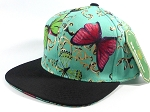 Wholesale Blank Flower Snapback Hats - Butterfly - Turquoise | Black