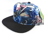 Wholesale Blank Floral Snapback Caps | Butterfly and Big Rose | Blue and Black Brim