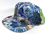Wholesale Blank Floral Snapback Caps | Butterfly and Big Rose | Blue