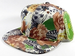 Wholesale Blank Floral Snapback Caps | Butterfly and Big Rose | Brown