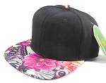 Wholesale Blank Floral Snapback Caps | Butterfly and Big Rose | Hot Pink and Black Crown
