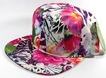 Wholesale Blank Floral Snapback Caps | Butterfly and Big Rose | Hot Pink