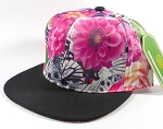 Wholesale Plain Floral Snapback Hats | Butterfly and Big Rose | Hot Pink and Black Brim