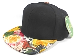 Wholesale Blank Floral Snapback Caps | Butterfly and Big Rose | Yellow and Black Crown
