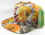 Wholesale Blank Floral Snapback Caps | Butterfly and Big Rose | Yellow