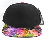 Bulk Blank Floral Snapback Hats | Butterfly and Dragonfly | Rainbow Pink and Black Crown