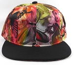 Bulk Plain Floral Snapbacks Cap | Butterfly and Dragonfly | Red and Black Brim