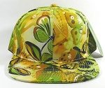 Wholesale Blank Floral Snapback Hats | Butterfly and Dragonfly | Lime Yellow