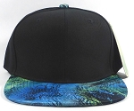 Wholesale Blank Marble Art Snapbacks Caps | Wave Pattern - Turquoise and Black Crown