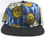 Wholesale Blank BitCoin Snapback Caps | Blue and Black