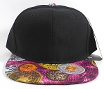 Wholesale Plain BitCoin Snapback Caps | Black and Hot Pink