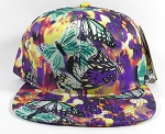 Wholesale Blank Floral Snapbacks Cap | Butterflies on Little Flowers