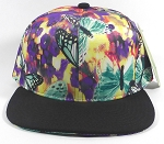 Wholesale Blank Floral Snapbacks Cap | Butterflies on Little Flowers - Black Brim