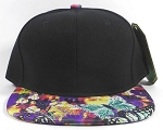Wholesale Blank Floral Snapbacks Cap | Butterflies on Little Flowers - Black Top