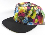 Wholesale Blank Floral Snapbacks Hat | Butterflies on Little Flowers - Black Bill