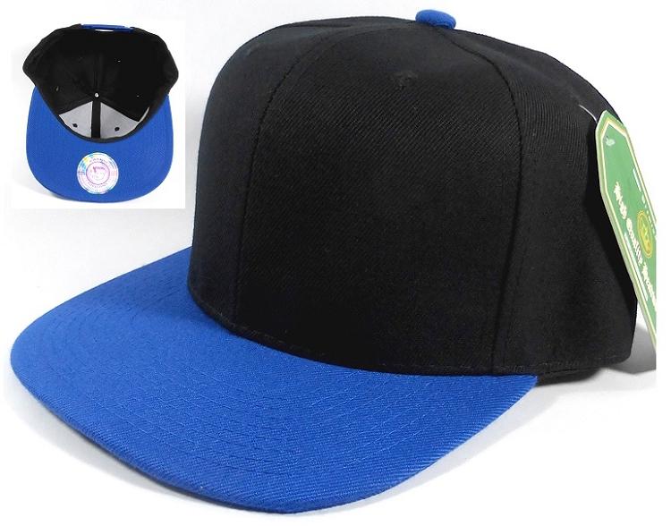 Wholesale Blank Snapback Hats Caps Black Royal Blue