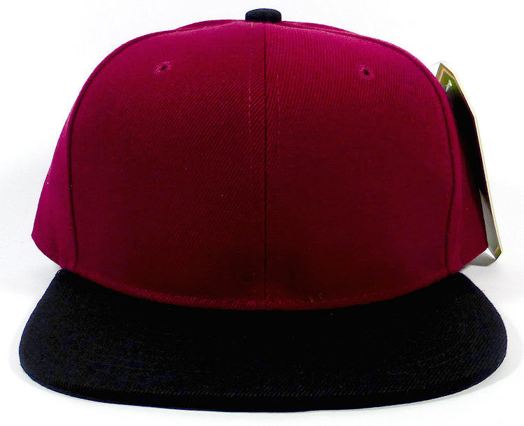 Wholesale Blank Snapback Hats Plain Caps - Burgundy | Black