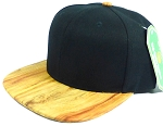 Wholesale Blank Faux Cork Snapback Hats - Wood Brim Caps Black | Natural Oak