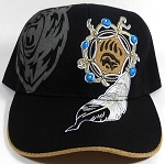 Native Pride Baseball Caps Wholesale - Suede Underbrim - Roaring Bear and Bearclaw