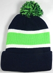 Beanies Wholesale | Pom Pom Beanies Trendy Winter Hats - Navy and Lime Green