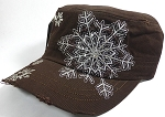 Holiday Special - Distressed Rhinestone Fitted Cadet Hat - Snowflake - Brown