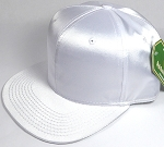 Crown Hat Original - Wholesale Faux Smooth Silk Blank Solid Snapback Caps - White