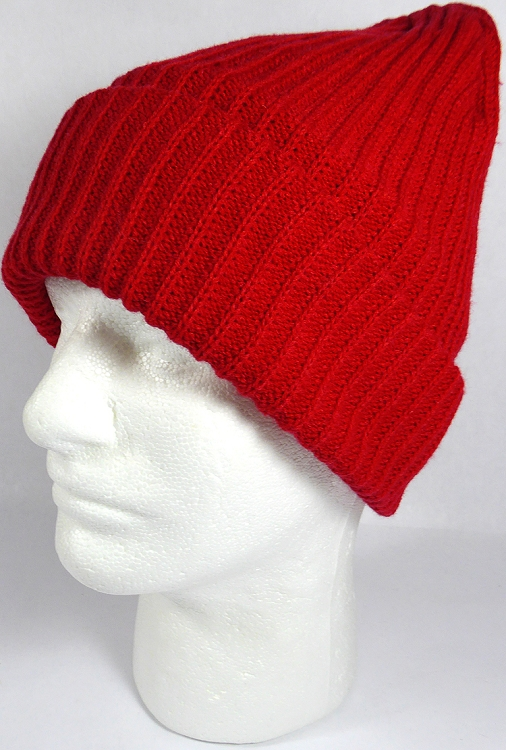 Knitting Pattern Long Beanie : Wholesale Winter Knit Long Cuff Beanie Hats - Solid Red