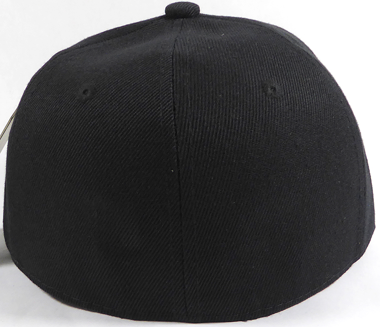 Fitted Size Caps - Wholesale Plain Hat - 6 3/4 - Black