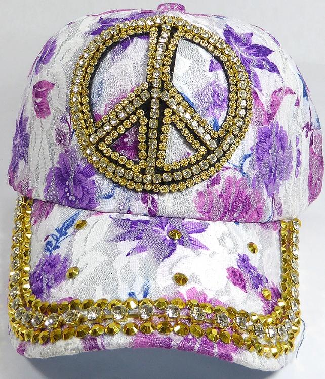 baseball rhinestone hats caps bling mom cap peace