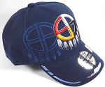 Wholesale Native Pride Baseball Cap - Medicine Wheel - Navy Blue