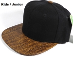 JUNIOR KIDS - Wholesale Blank Snapback Cap - Cork Woodbrim - Dark Brown Oak