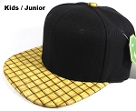 JUNIOR KIDS - Wholesale Blank Snapback Cap - Cork Woodbrim - Wood Strawmesh