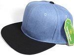 Wholesale Blank Snapback Cap - Denim Medium Jean - Two Tone Black Brim