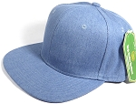 Wholesale Blank Snapback Cap - Denim Medium Jean - Solid