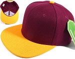 Blank Snapback Hats & Caps Wholesale - Burgundy | Golden Yellow Brim