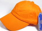 Washed 100% Cotton Plain Baseball Cap - Gold Metal Buckle - Orange