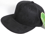 Wholesale Suede Blank Snapback Caps - Black - Solid