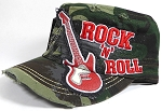 Wholesale Distressed Cadet Vintage Embroidered Hat - Rock 'n' Roll - Camo