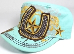 Wholesale Rhinestone Distressed Castro Hats  - Star Horseshoe - Mint Green