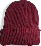 Wholesale Winter Knit Long Cuff Beanie Hats - Solid Burgundy