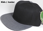 KIDS JUNIOR Bulk Blank Snapback Cap - Denim Charcoal Grey - Black Crown