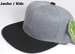 KIDS JUNIOR Bulk Blank Snapback Cap - Denim Heather Grey - Black Brim