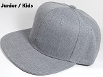 KIDS JUNIOR Bulk Blank Snapback Cap - Denim Heather Grey - Solid