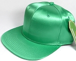 Crown Hat Original - Wholesale Faux Smooth Silk Blank Solid Snapback Caps - Kelly Green