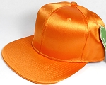 Crown Hat Original - Wholesale Faux Smooth Silk Blank Solid Snapback Caps - Orange