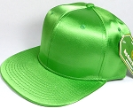 Crown Hat Original - Wholesale Faux Smooth Silk Blank Solid Snapback Caps - Dark Lime
