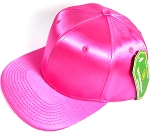 Crown Hat Original - Wholesale Faux Smooth Silk Blank Solid Snapback Caps - Hot Pink